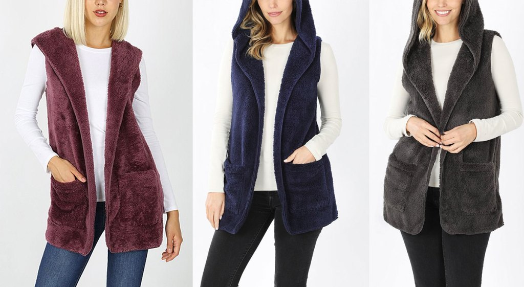 three women modeling faux fur hooded vests in maroon, navy blue, and grey colors