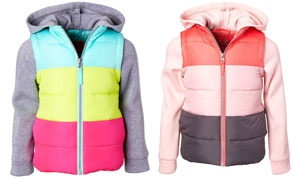 two girls color blocked puffer zip-up jackets