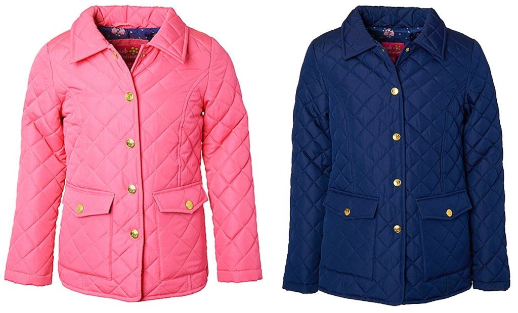 two girls quilted jackets in pink and navy blue colors