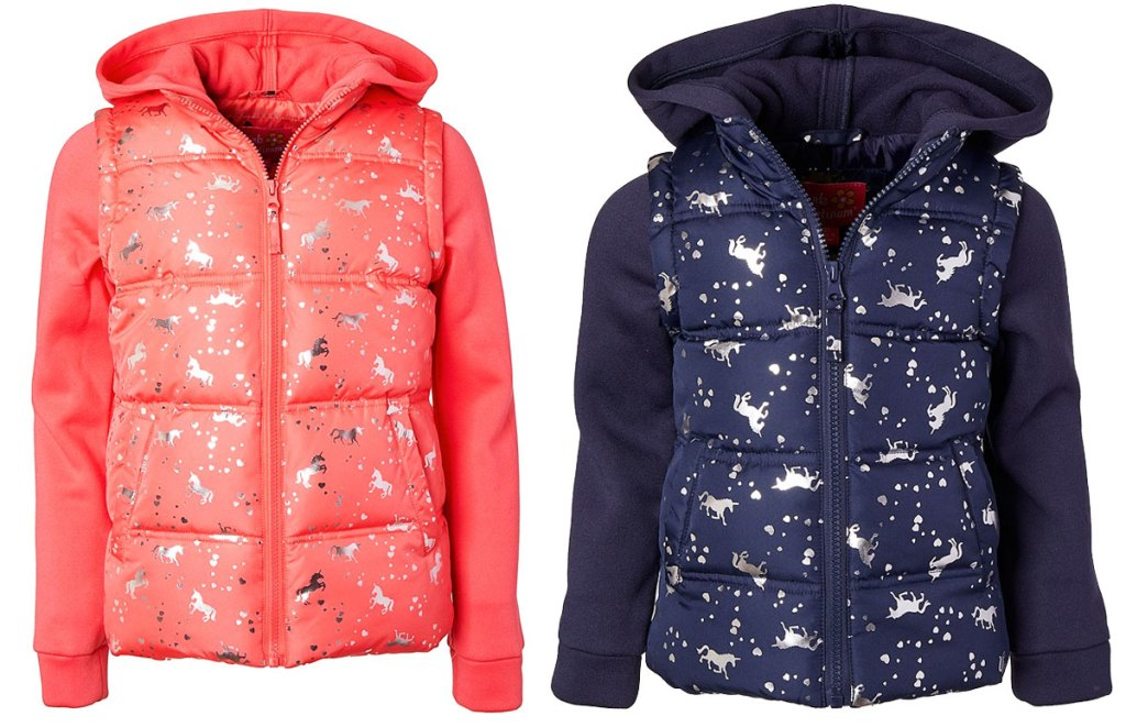 two unicorn printed girls puffer jackets in pink and navy blue colors