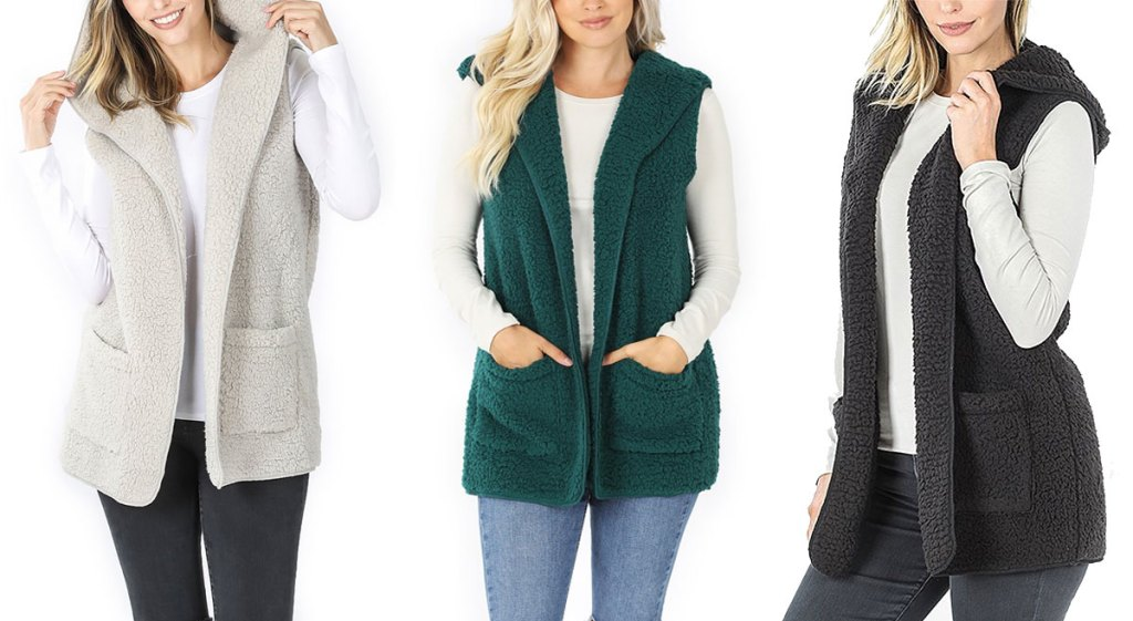 three women modeling sherpa hooded vests in light grey, green, and grey colors