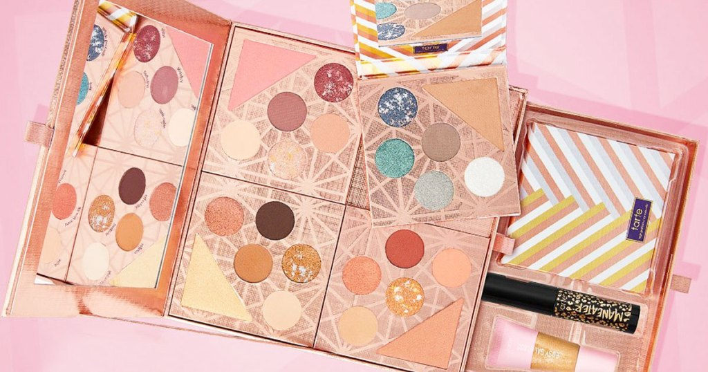 tarte eyeshadow palette made up of four mini palettes on a pink background