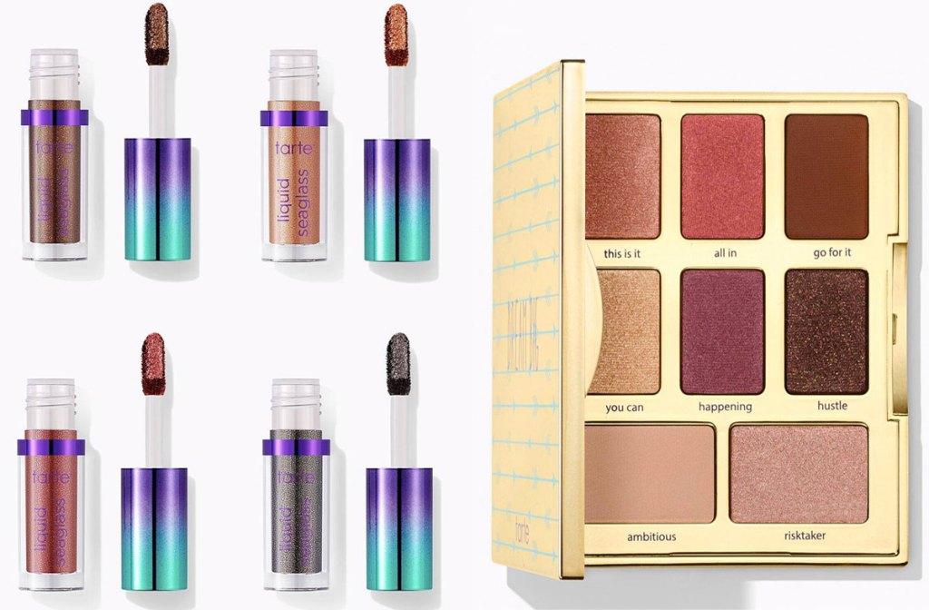set of four liquid eyeshadows and neutral eyeshadow palette