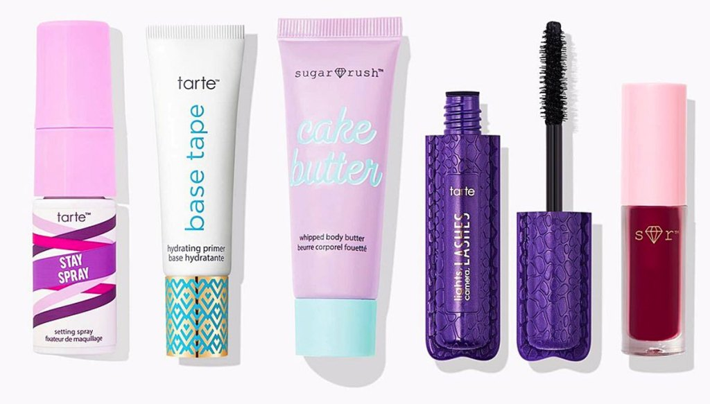 five travel sized tarte skincare and cosmetic products