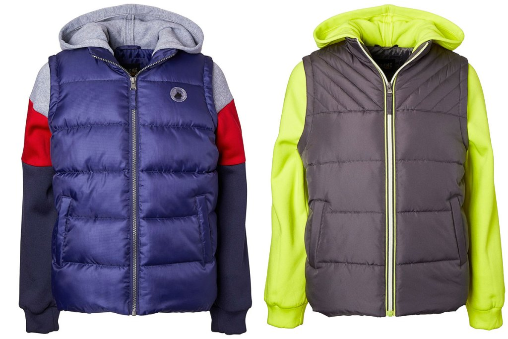 two boys puffer zip-up jackets in blue and grey with green colors