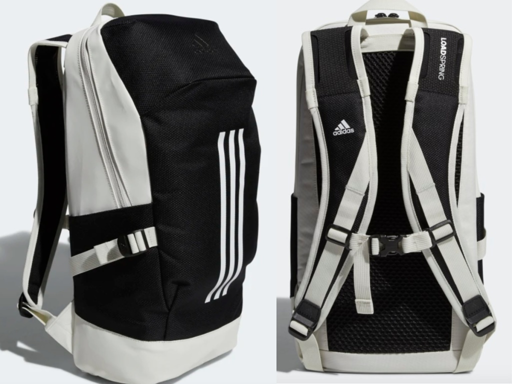 front/side view and back view of an adidas backpack