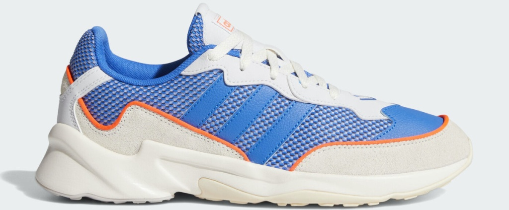 men's white, blue, and orange sneaker