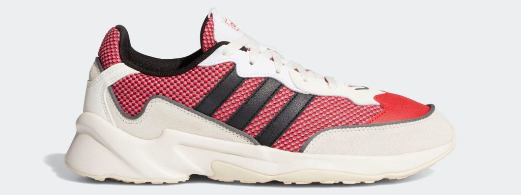 red, white and black men's adidas shoe