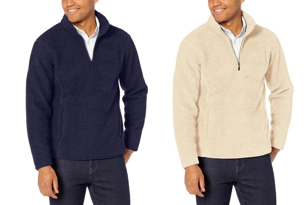 amazon essentials fleece navy and white