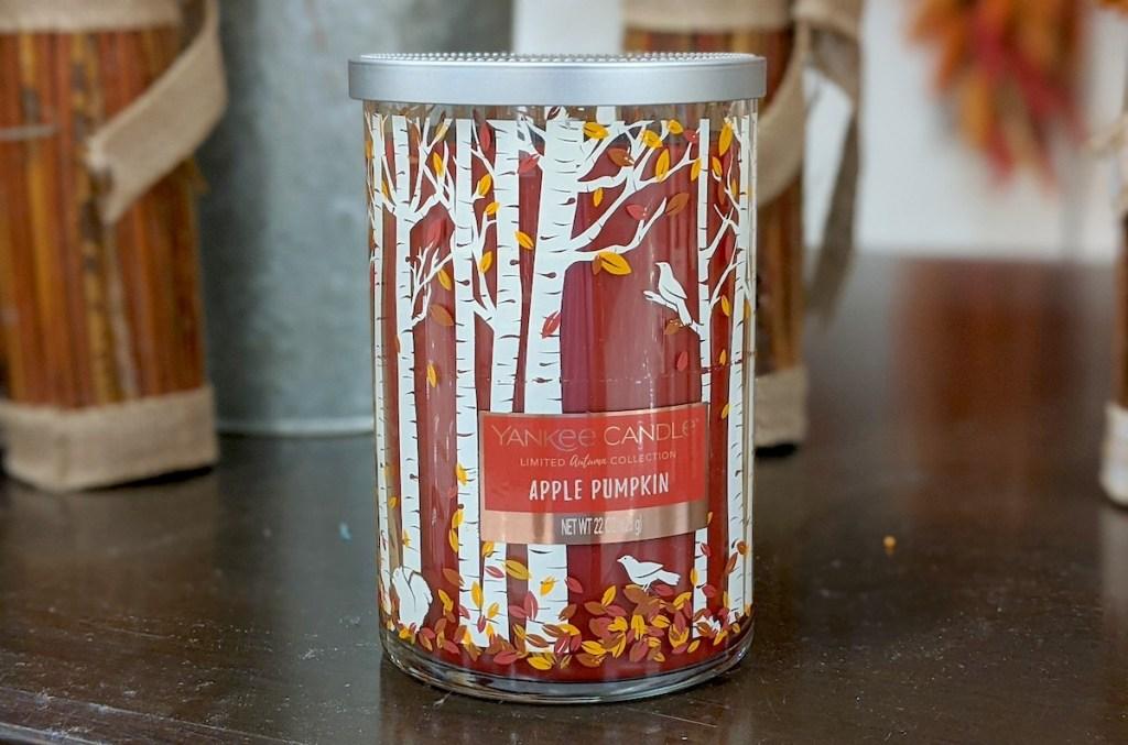 apple pumpkin fall yankee candle on table