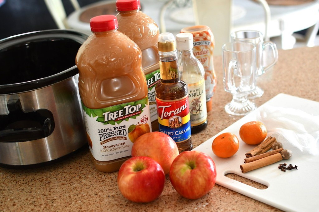 apple cider ingredients sitting next to crockpot on counter