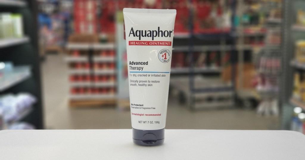 aquaphor advanced therapy single bottle on shelf