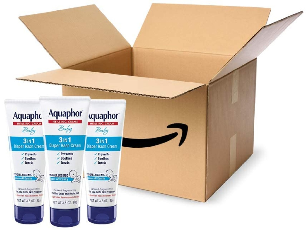 aquaphor baby 3 in 1 diaper rash cream bottles with amazon box