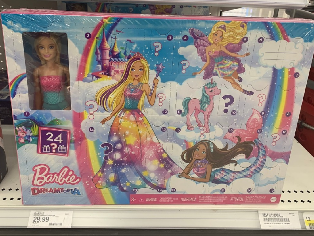 store shelf holding box with Barbie advent calendar