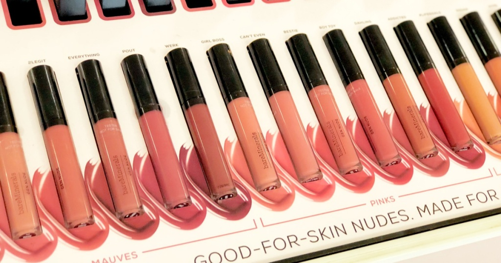 bare minerals lip gloss many on display
