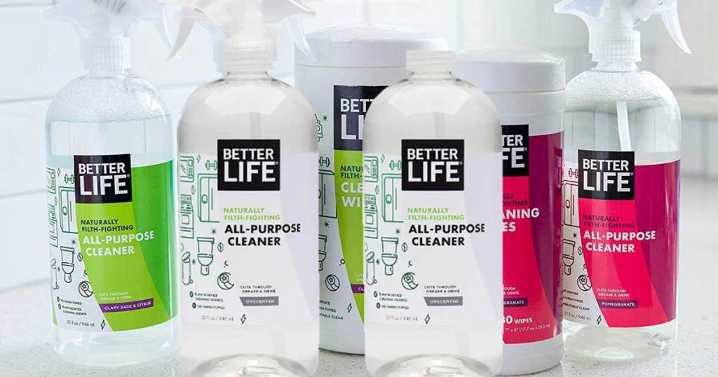 several bottles of all purpose cleaners