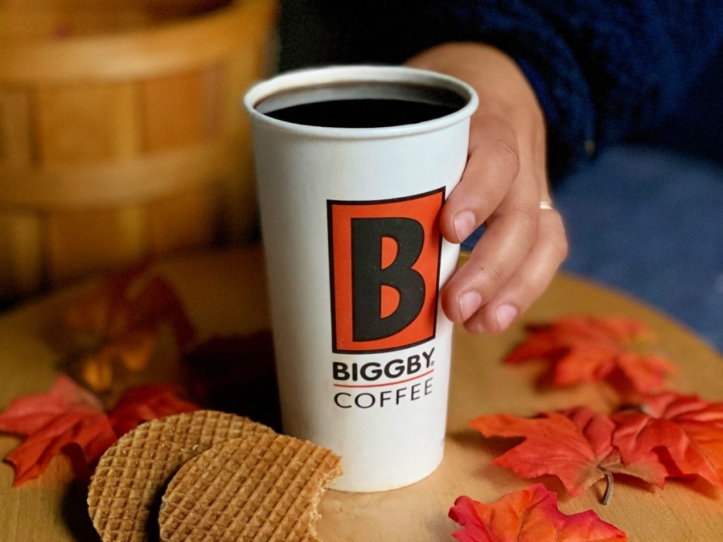 Biggby coffee with stroopwaffles and fall leaves