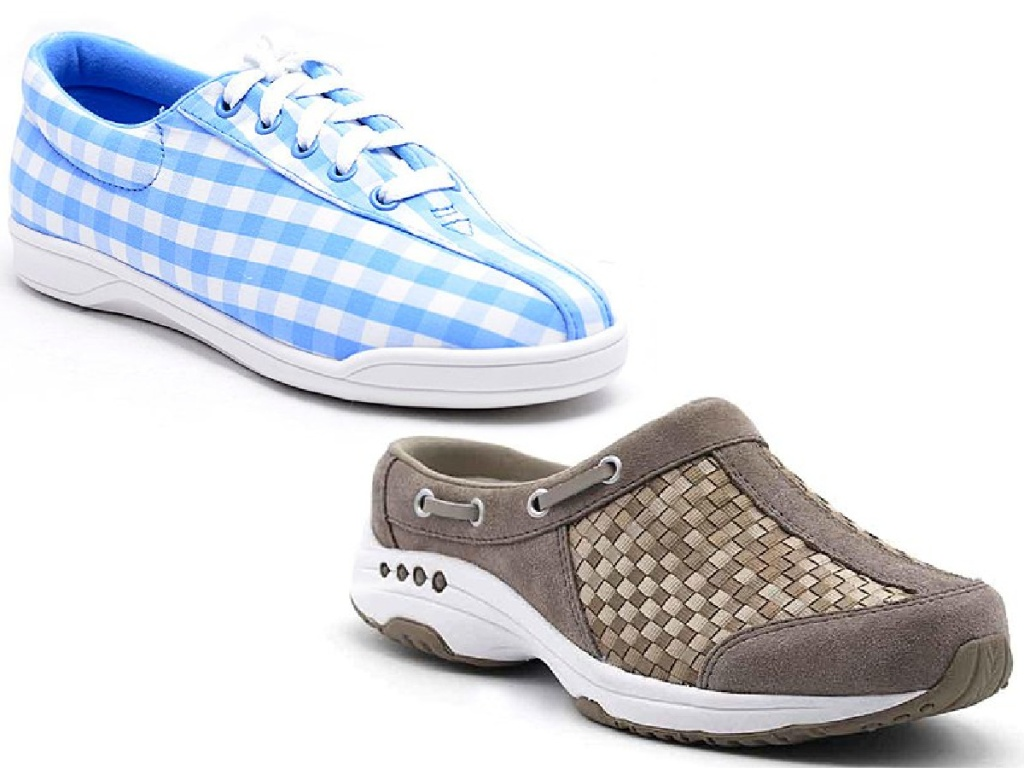 blue shoe and brown shoe on white background
