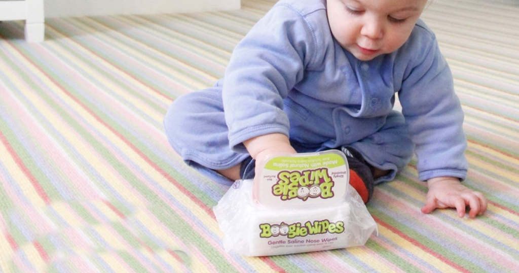baby opening boogie wipes