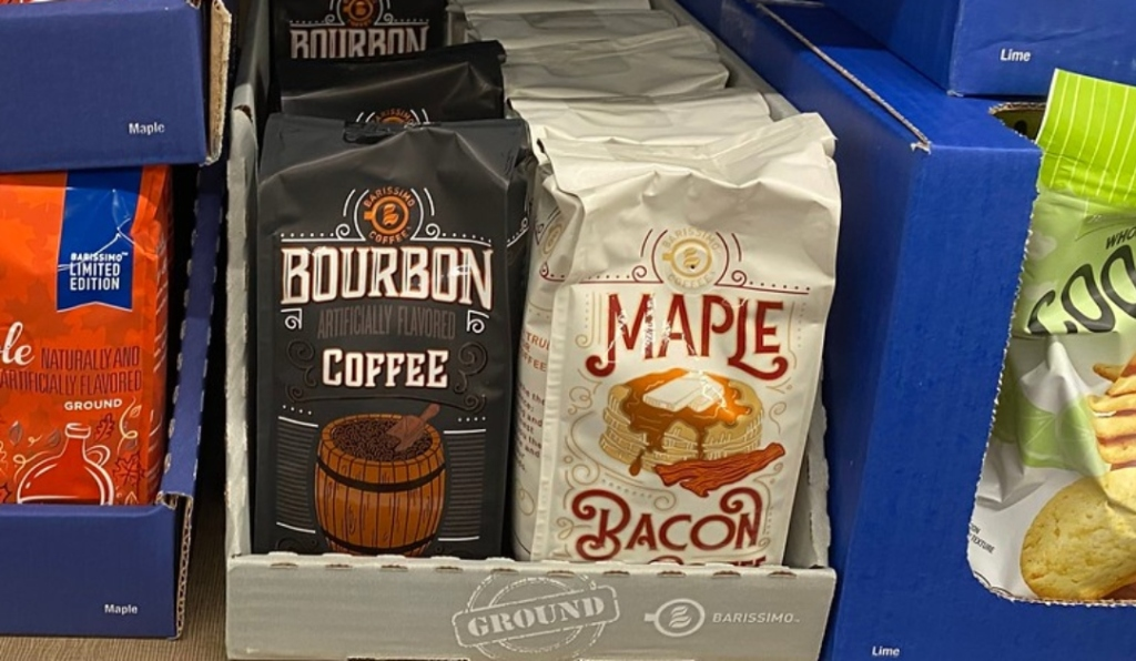Barissimo Bourbon Coffee, in store on a shelf in ALDI next to Maple Bacon Flavored coffee