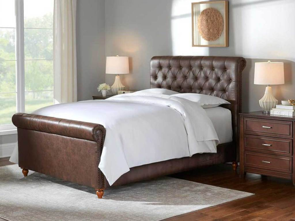 brown leather sleigh bed in bedroom