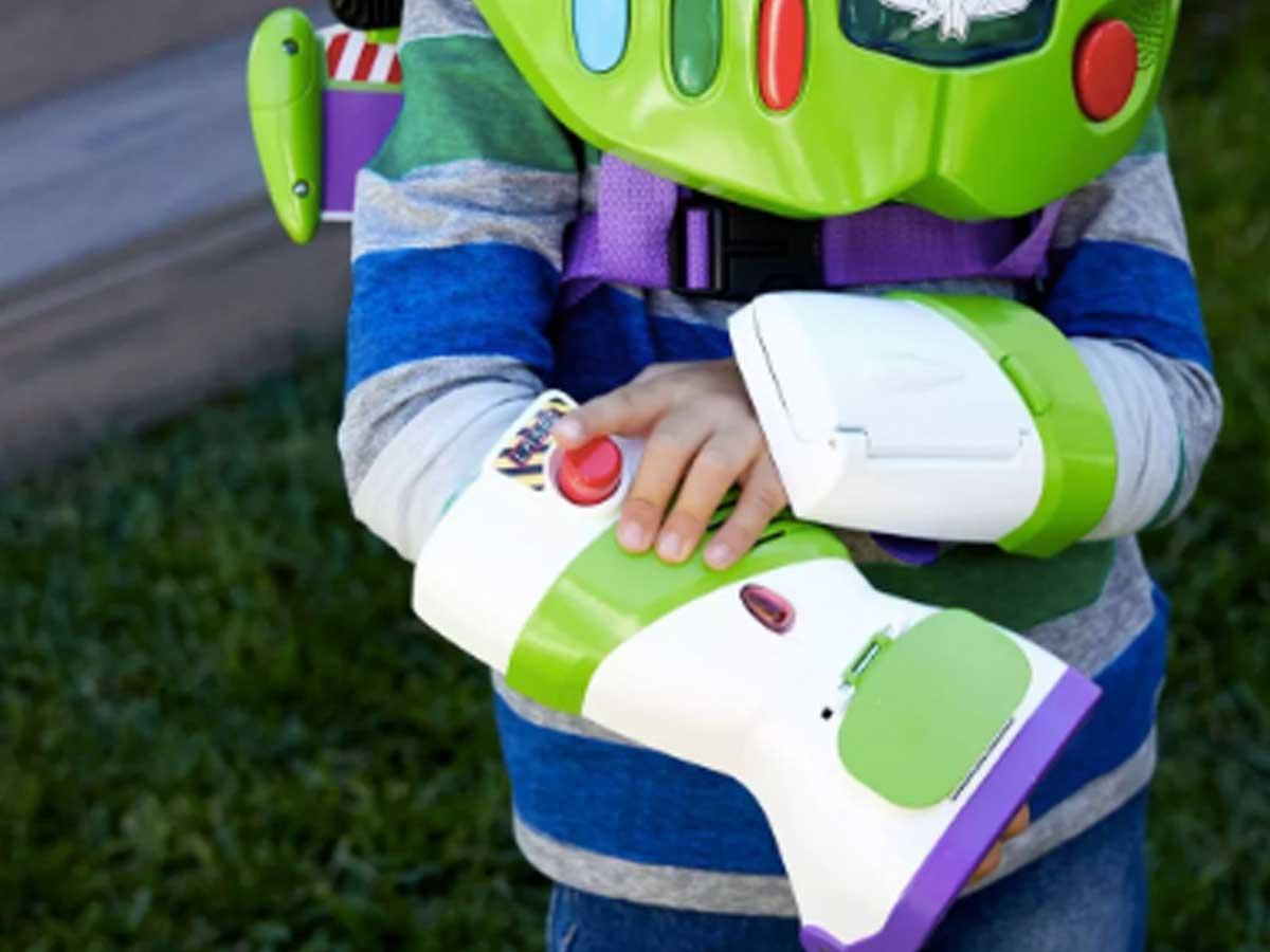 buzz lightyear disc thrower toy on boy