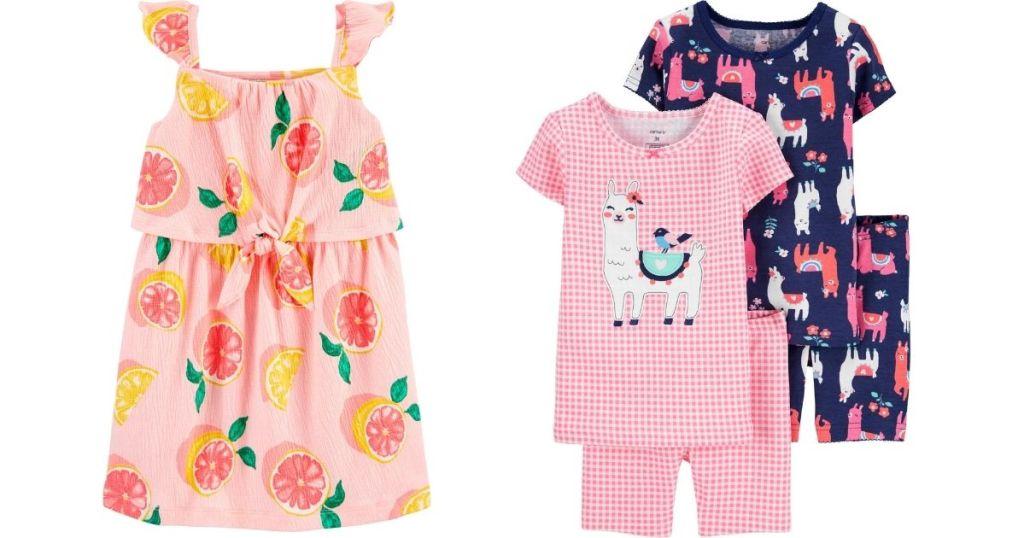 grapefruit girls dress and llama pj set