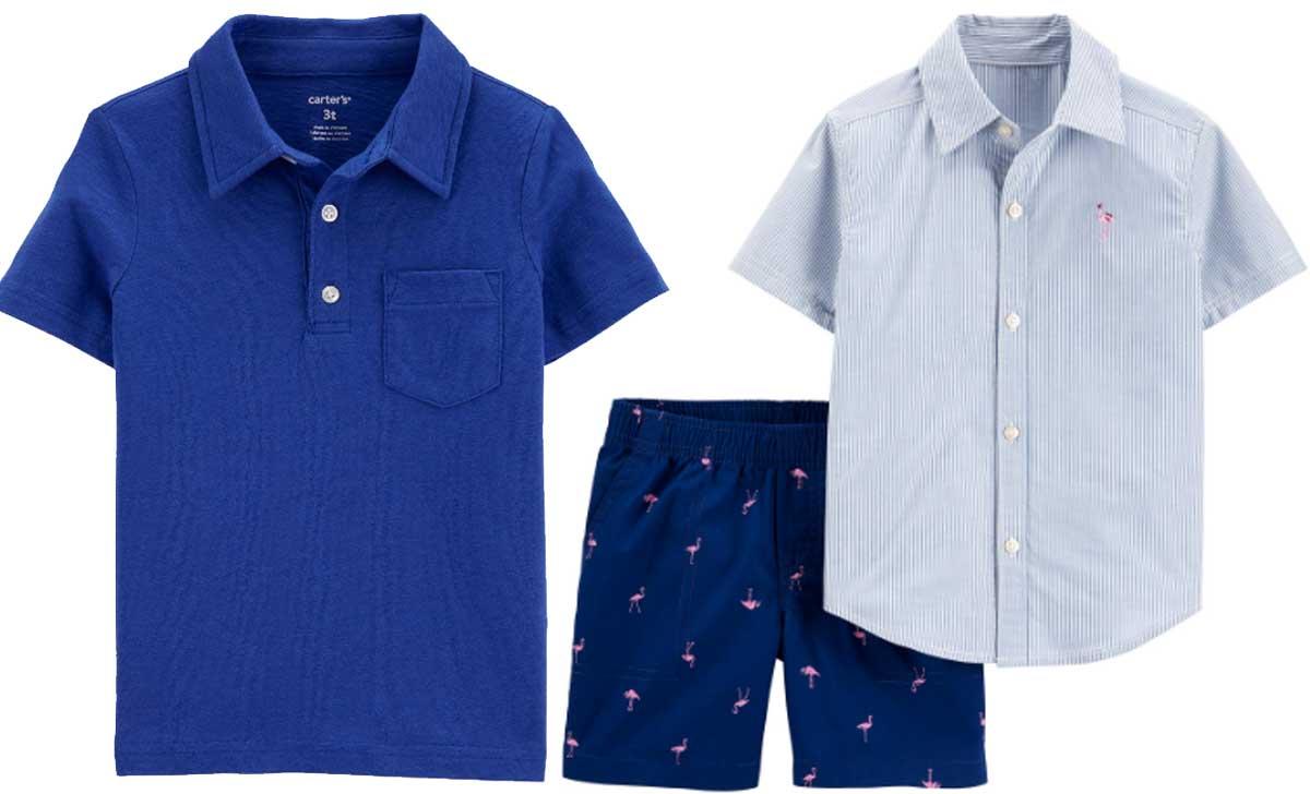 boys polo shirt and boys shirt and short combo