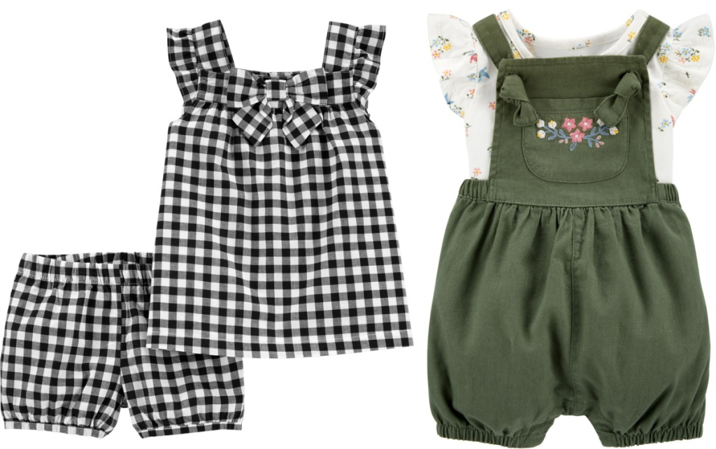 white and black plaid sets and green floral set