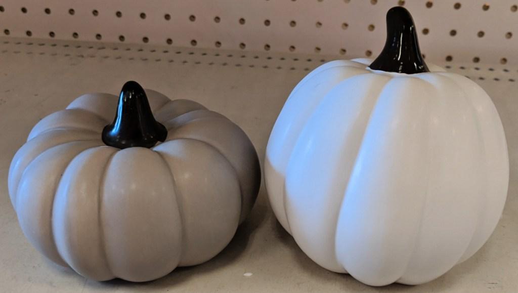ceramic pumpkins in dollar spot at Target