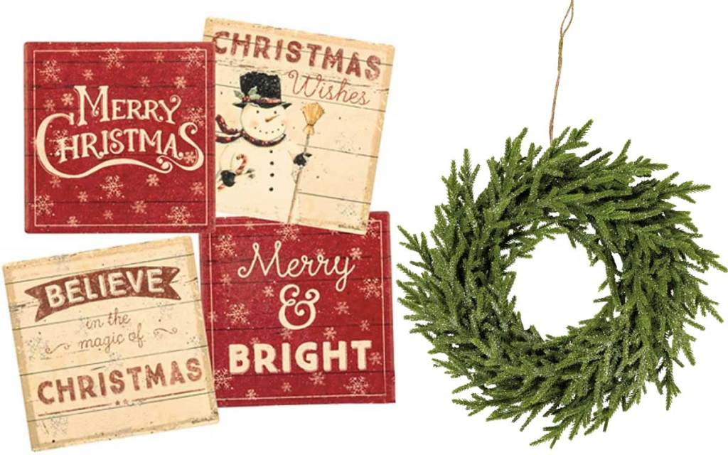 holiday coasters and wreath