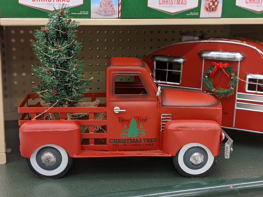 christmas red vintage truck at hobby lobby