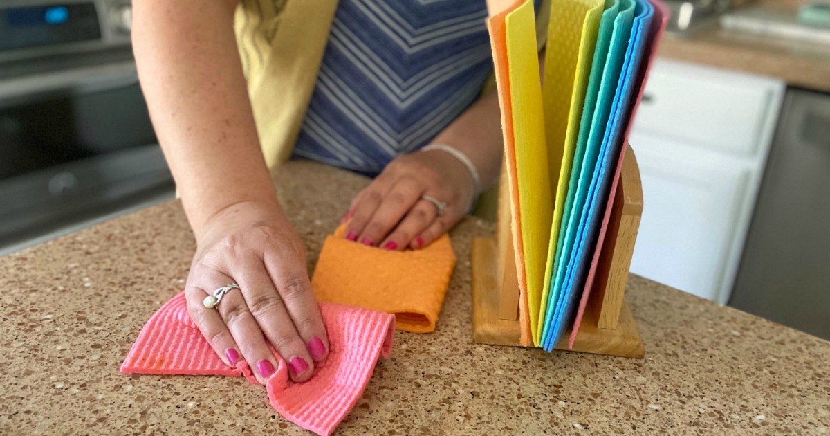 cleaning with colorful Swedish dishcloths