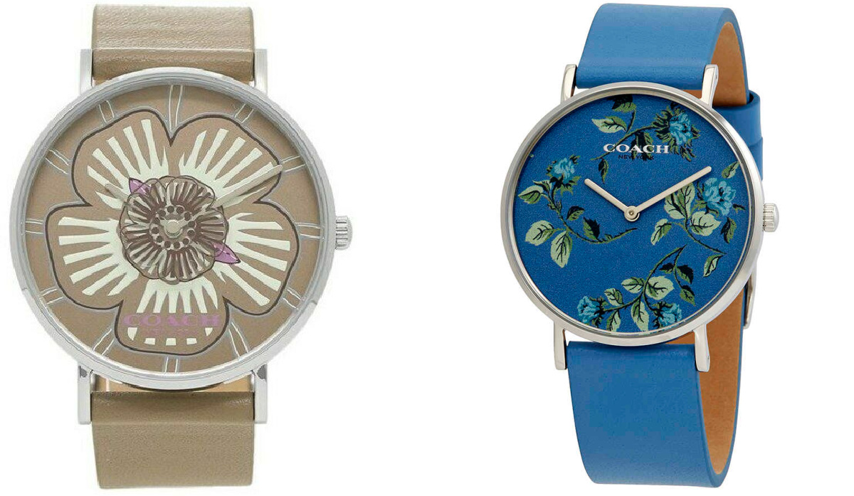 brown flower and blue floral coach watches