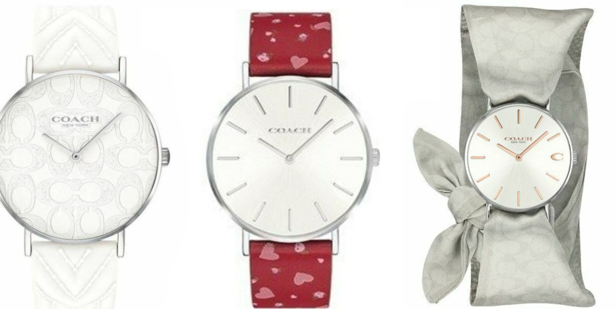 white hearts and gray coach watch