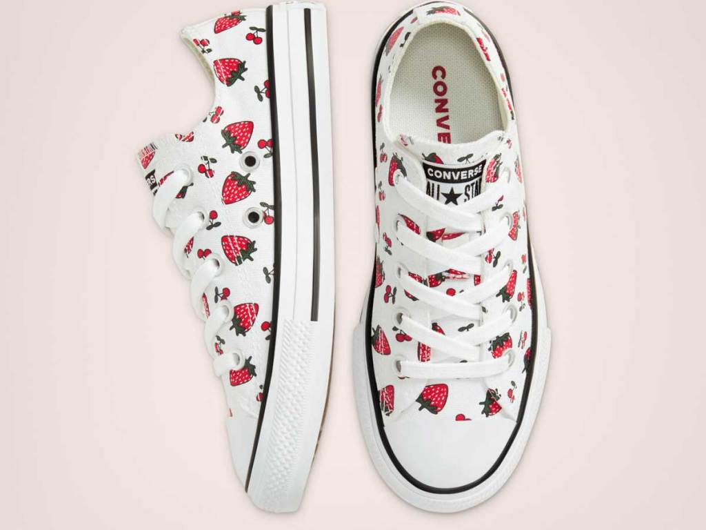 shoes with strawberry print