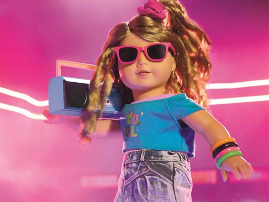 american girl from the 80's with boombox