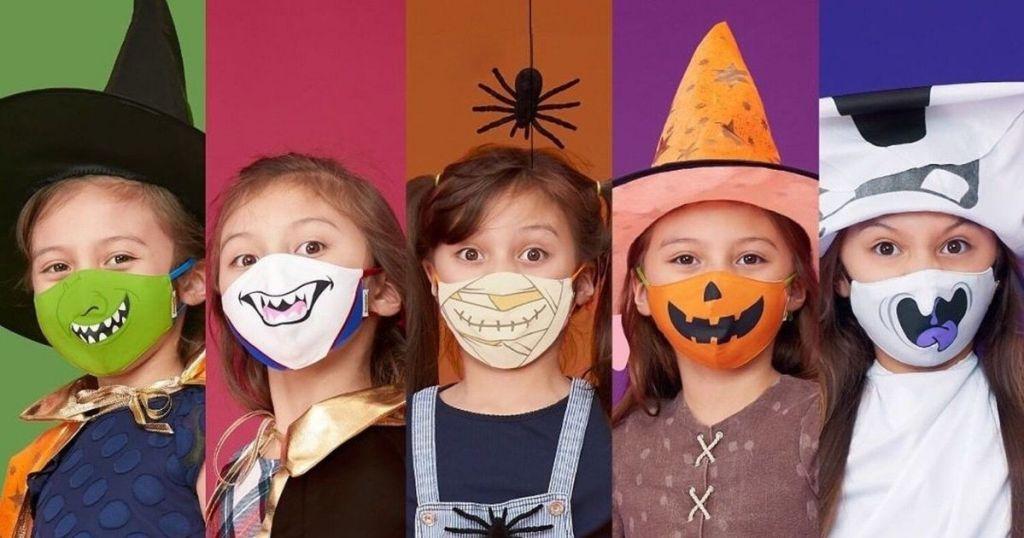 kids wearing Halloween face masks