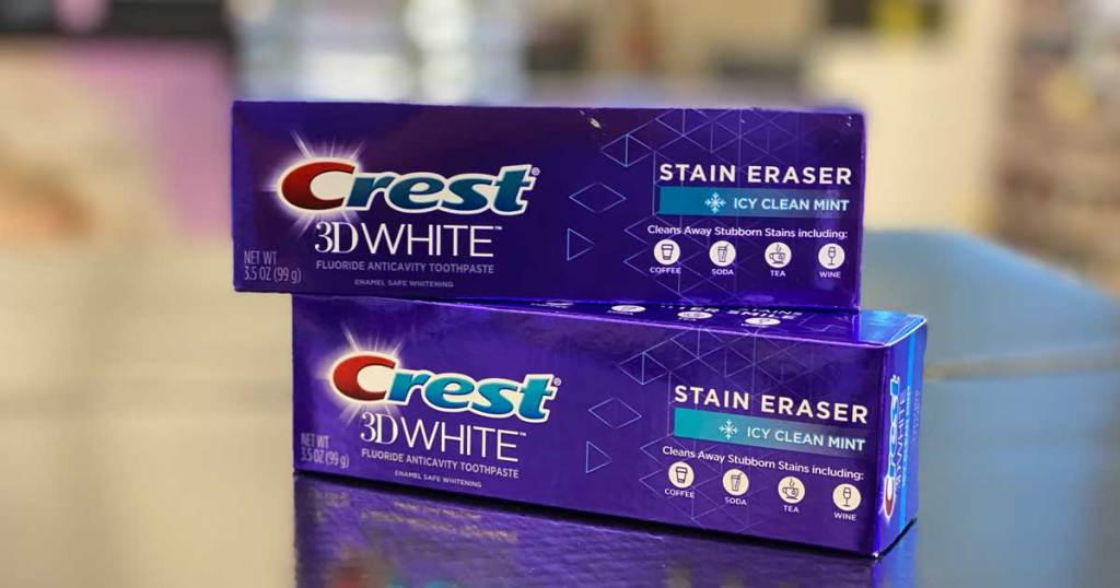 crest toothpaste on counter