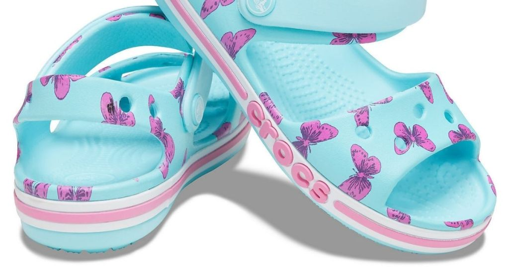 blue and purple butterfly crocs sandals