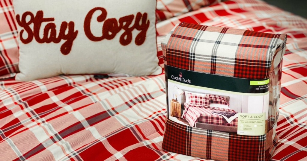 cuddl duds sheet set on bed in-store