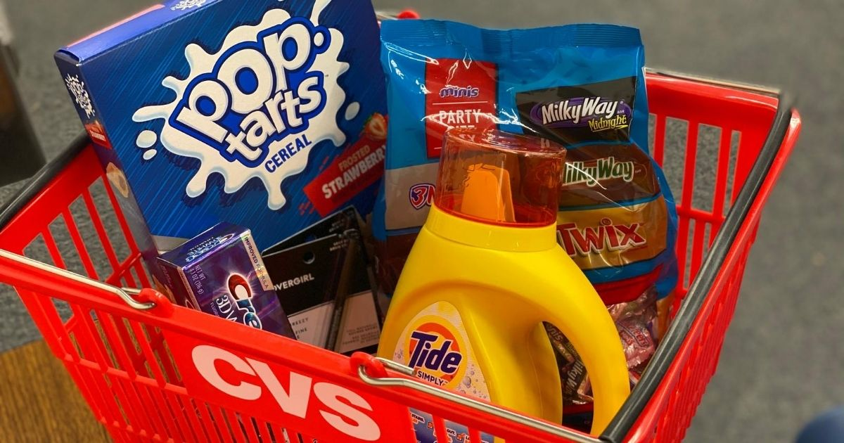 Tide, Cereal and candy in a CVS basket