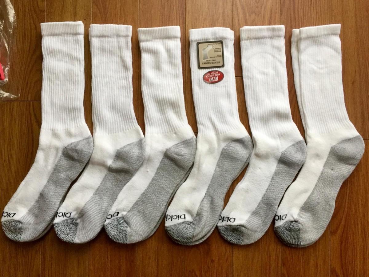 6 pairs of white socks
