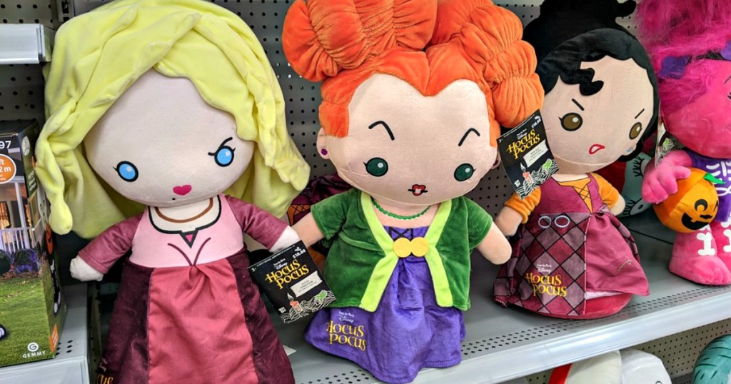 hocus pocus sisters halloween decorations on a store shelf