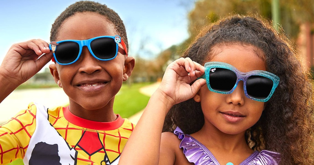 disney kids sunglasses on two kids