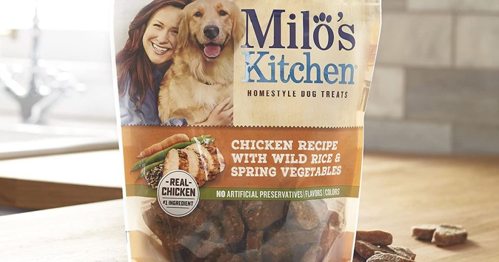 milos kitchen dog treats on counter