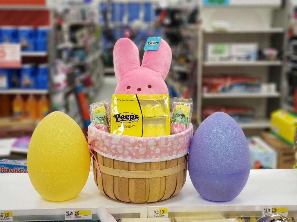 easter peeps in basket