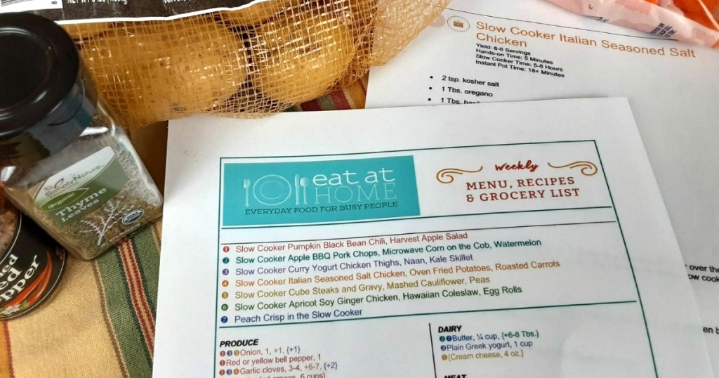 meal plan next to food