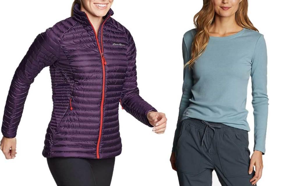 women wearing winter jacket and long sleeve t