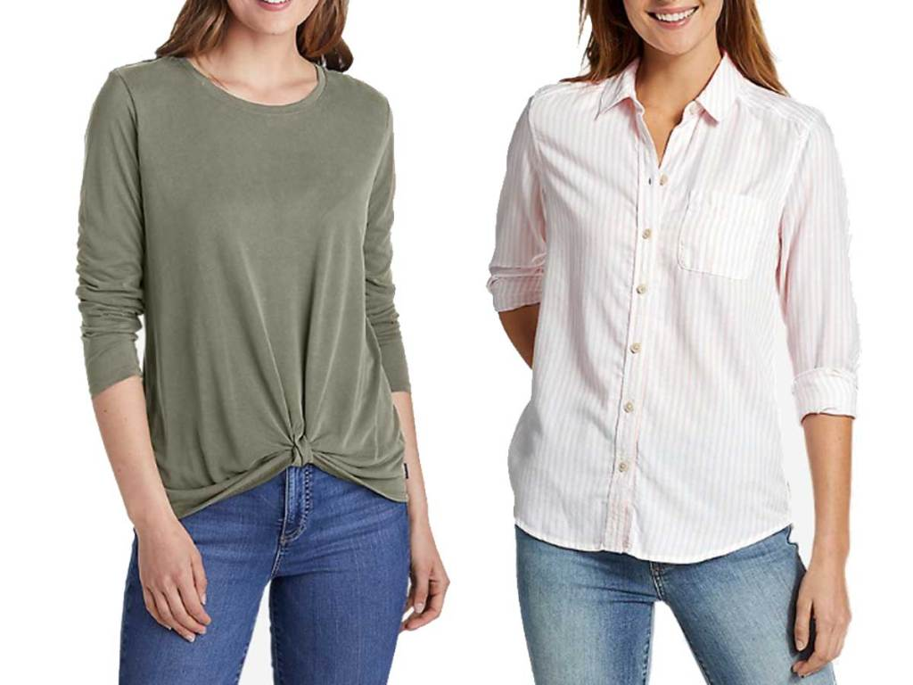 women's shirts one long sleeve t and the other a button down